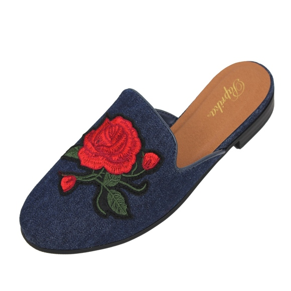 fc803e37cf5 Blue Rose Embroidery Backless Slip On Loafer Mule